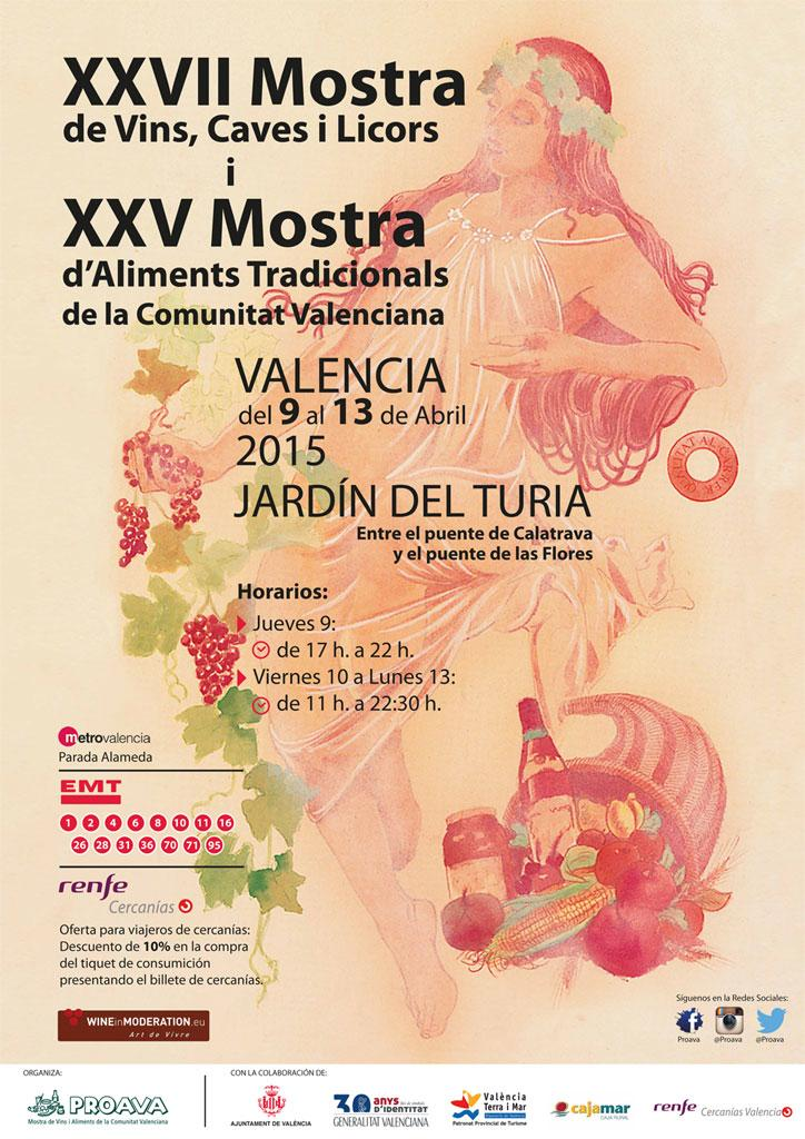 Cartel de la XXVII Mostra de Vins, Caves, Licors i XXV d'Aliments Tradicionals de la Comunitat Valenciana FUENTE: proava.org