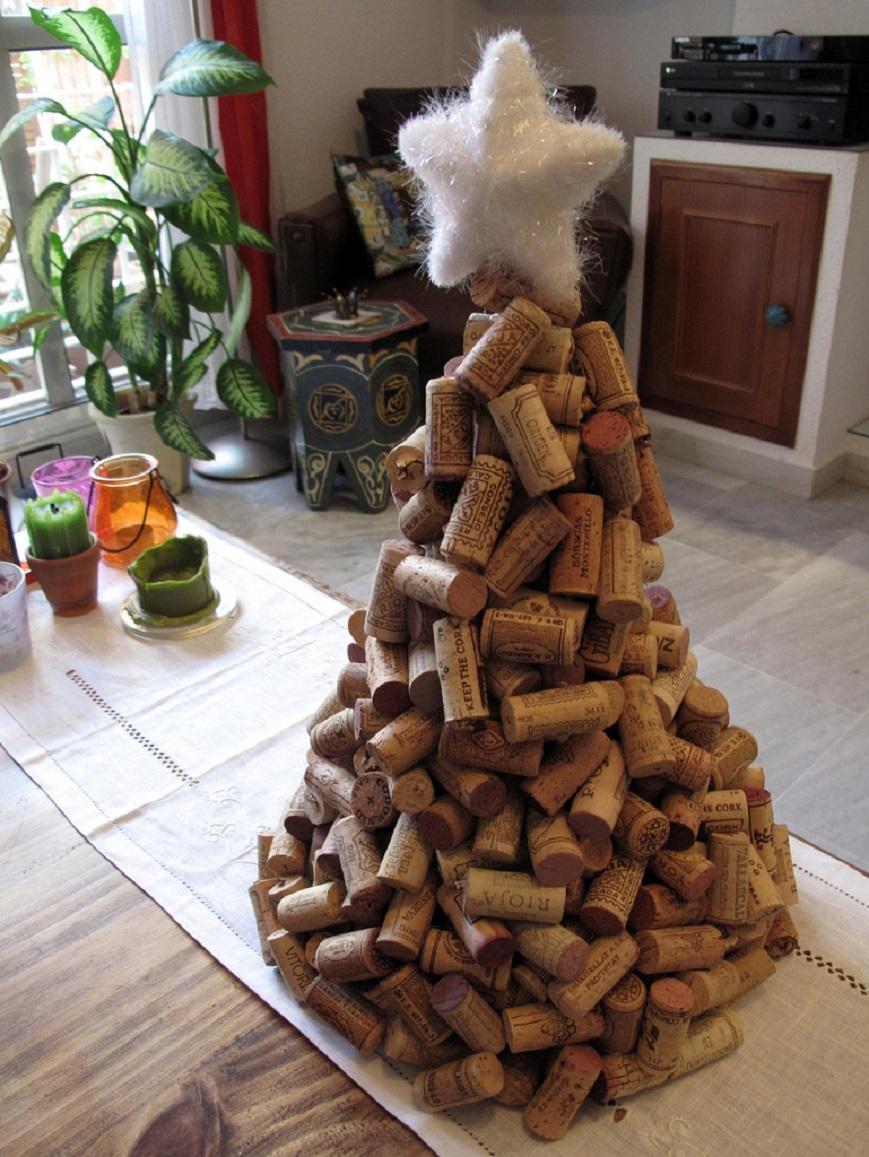 Árbol de navidad de corcho de vinos