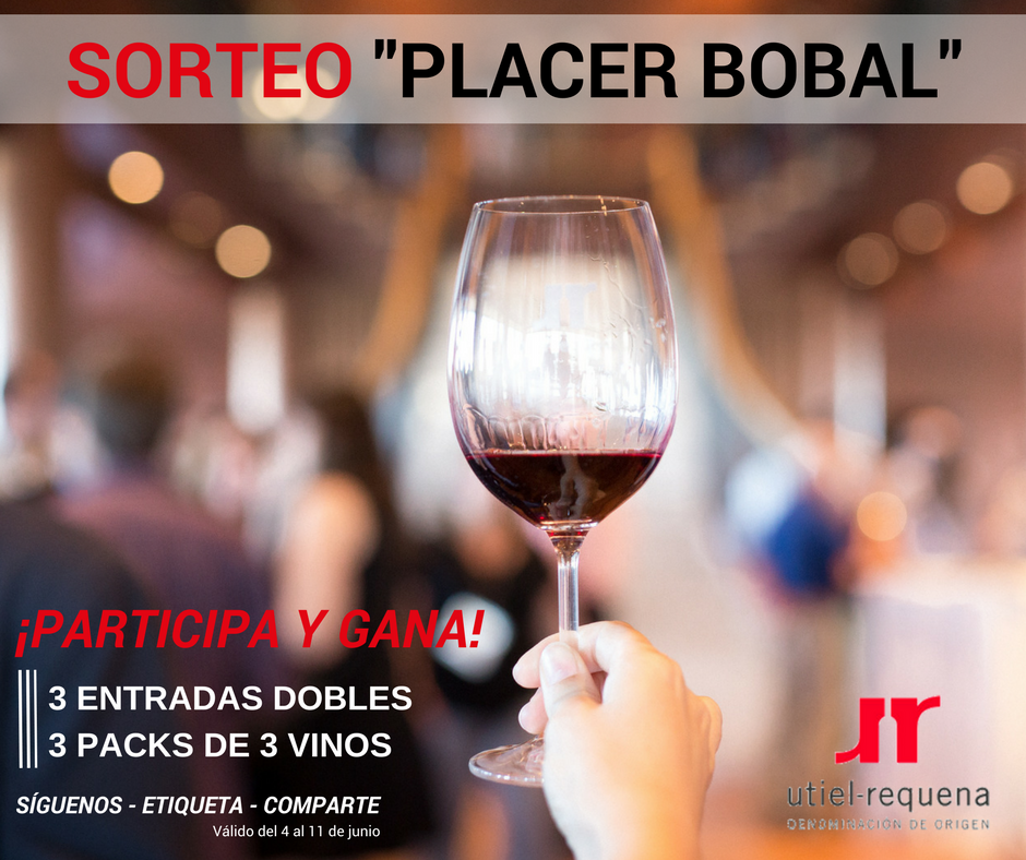SORTEAMOS 3 ENTRADAS DOBLES A PLACER BOBAL Y 3 PACKS DE VINO. ¡PARTICIPA!
