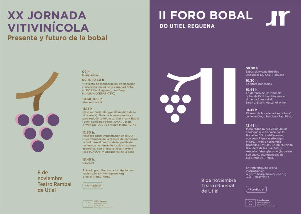 La XX Jornada Vitivinícola y el II Foro Bobal D.O. Utiel-Requena, citas relevantes de noviembre 2