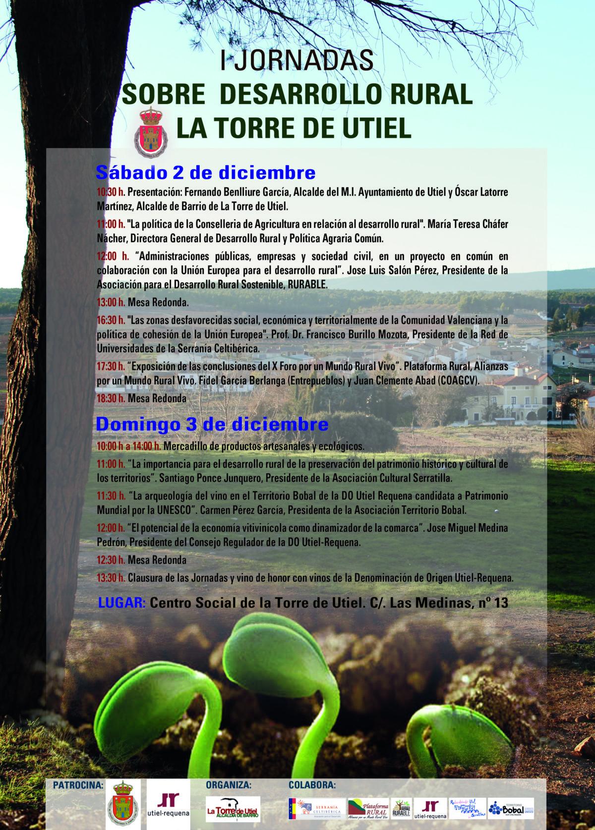 """Las """"I Jornadas sobre desarrollo rural"""" tendrán lugar el 2 y 3 de diciembre en La Torre de Utiel"""