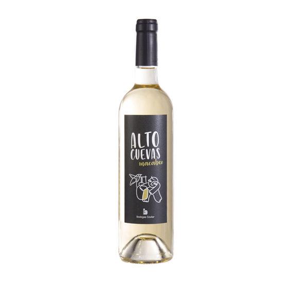 Botella de vino blanco Alto Cuevas Macabeo